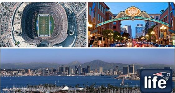 San Diego welcome pats fans and the Patriots. Game tonight, go pats!!!