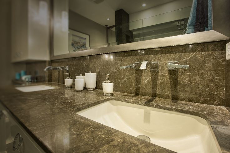 Twin Creek Project by Lotos Construction Kitchen Counters by Patra Stone Works in Bravo Granite. #bathroom #ensuite #design #granite