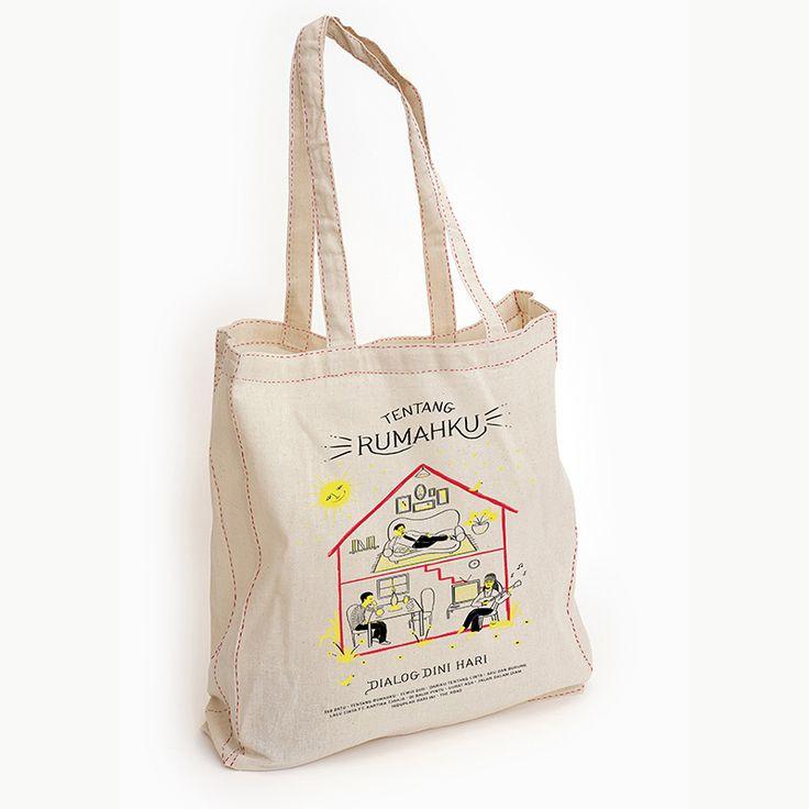 Dialog Dini Hari, Tentang Rumahku Totebag Merchandise  http://raindogsrecords.com/store/stuff/totebag-tentang-rumahku