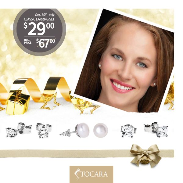 On the Tenth Day of Christmas, Tocara gave to me...  December 30th - Set of 3 pairs of classic earrings for only $29 (reg. price $67).  White or Grey freshwater pearl - Sterling Silver - Rhodium plated.  Total 1.3 CTWE • 4mm - DiAmi - Sterling Silver - Rhodium plated.  To purchase ask your consultant or click the image.