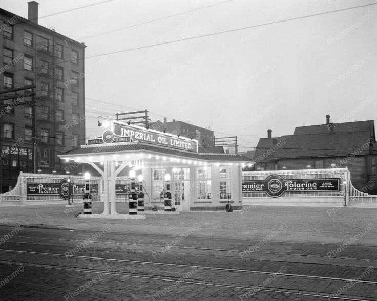 Imperial Oil Gas Station 1925 Vintage 8x10 Reprint Of Old Photo