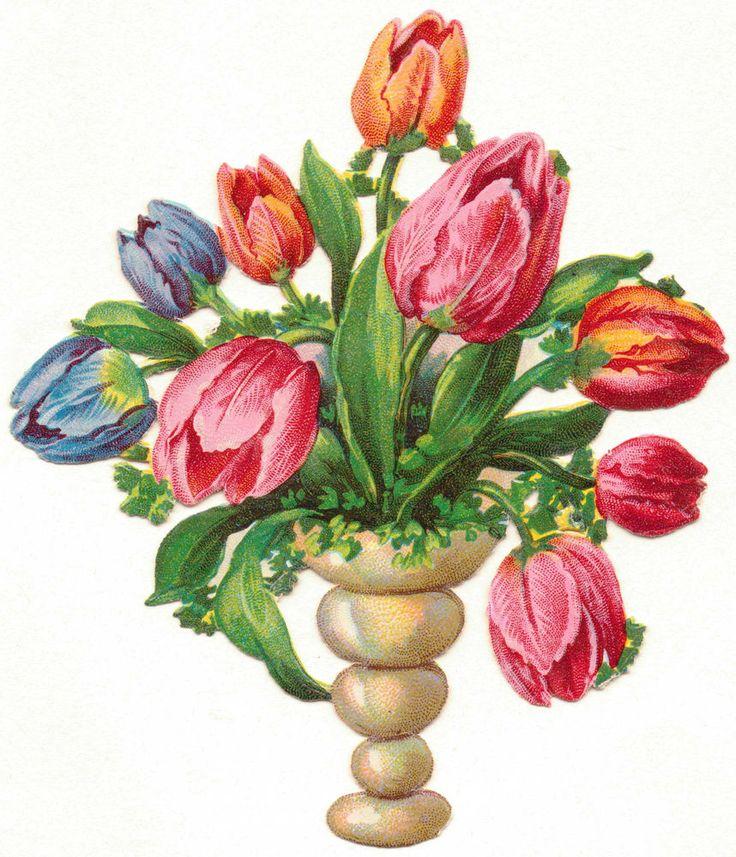 Oblaten-Glanzbilder-scrap-chromo: Wunderschöner Tulpenstrauß um 1900