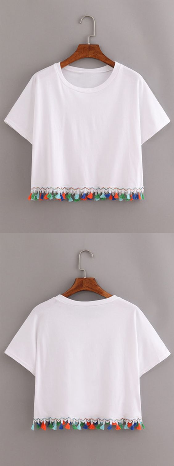 white tee crop top with colorful tassel fringe.