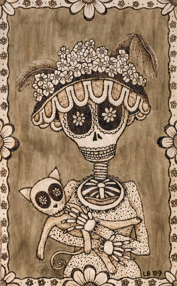 "Day of the Dead Style print of original wood burning, ""Katrina"" on Etsy, $20.00"
