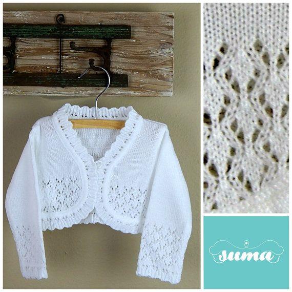 White or Ivory baby sweater, baby vest,, baby bolero, Christening / Baptism sweater, Christening jacket Ready to Ship