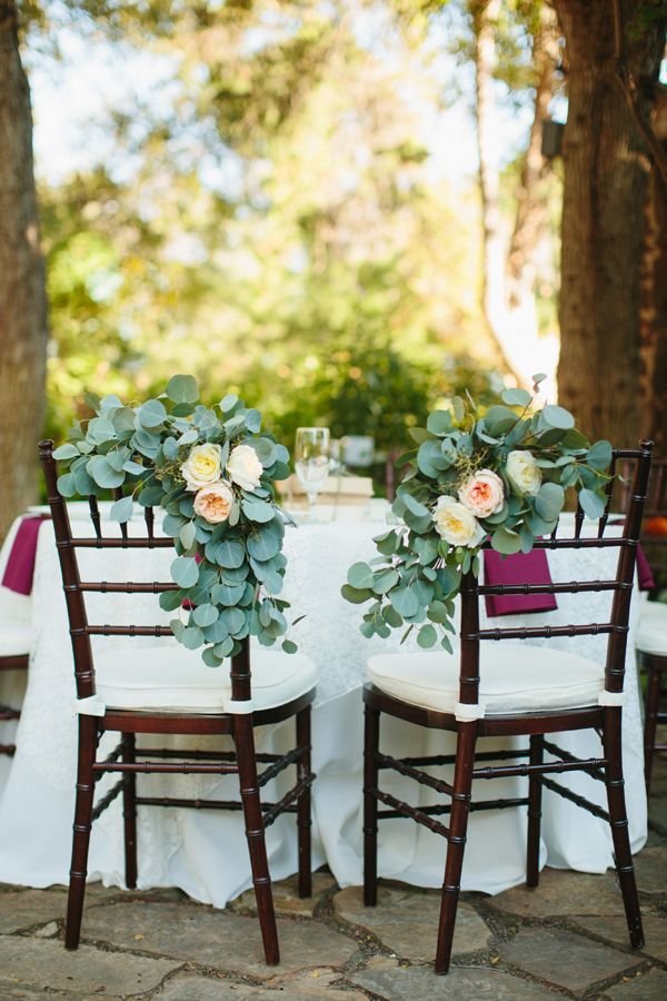 eucalyptus chair garlands | Sara & Rocky #wedding