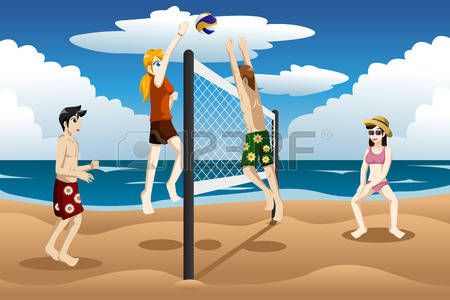 Jugadores de voleibol de playa adolescentes calientes
