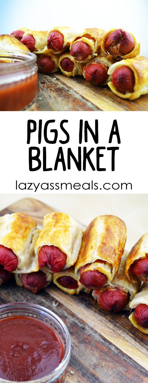 Pigs in a blanket is a fantastic platter dish that goes great at a kids party! They're super easy to make and you can do them in bulk. Just make sure you have enough puff pastry and hot dogs!