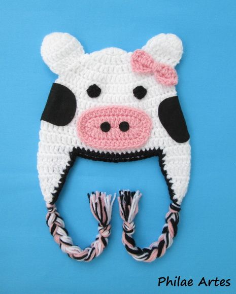 Beanie Hat Crochet croche Cow animal - Touca Gorro crochê vaca vaquinha - by…