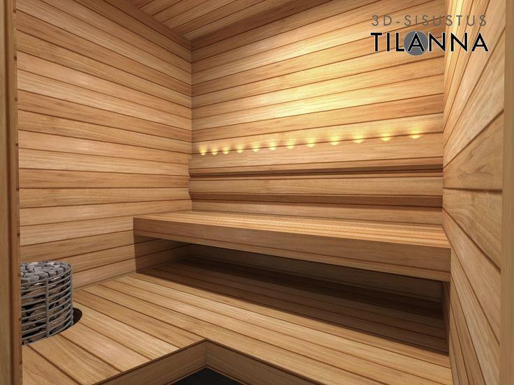 3D-sisustussuunnittelu / sauna, lämpökäsitelty haapa seinässä ja lauteissa, kuituvalaistus, harvian kiuas/ 3D-sisustus Tilanna, sisustussuunnittelija