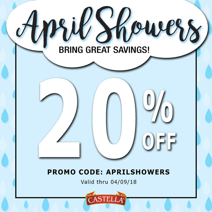 Shower yourself with your favorite Castella products! Get 20% off in the Castella Marketplace by using the code APRILSHOWERS at checkout!