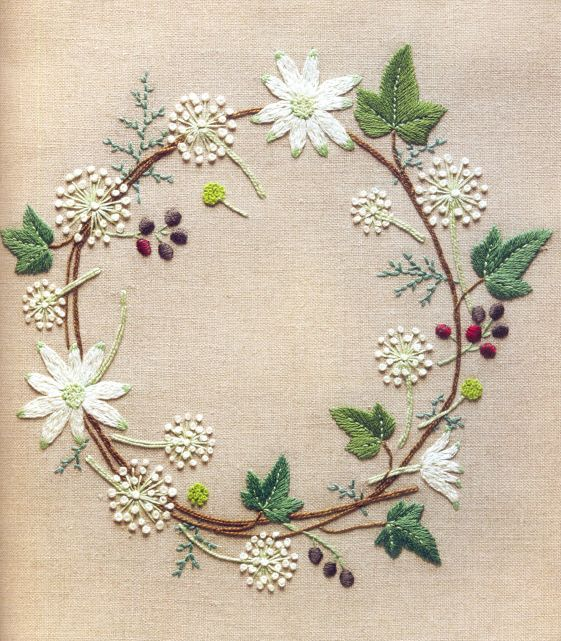 ♒ Enchanting Embroidery ♒ embroidered flower wreath inspiration - Kazuko Aoki