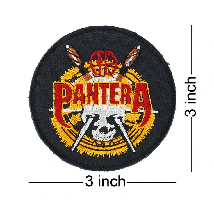 PANTERA Rock Band logo embroidered patch. Come with glue paper on back side. Easy to use just iron on patch. work with clothing, t shirt, backpack, jeans. Rockabilly fashion,  punk fashion, rock wear to concert is cool!!. Members is dimebag darrell, phil anselmo, vinnie paul, rex brown, terry glaze. Their Famous studio album is power metal, cowboys from hell, vulgar display of power, far beyond driven, i am the night, the great southern trendkill.