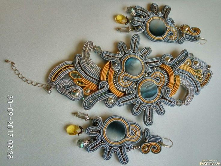 Arctic Sun soutache earings and bracelet / Арктическое солнце: серьги и браслет из сутажа