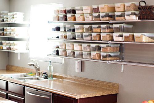 Open shelving from ikea with glass containers to store cooking baking ingredients next house - Ikea container home ...
