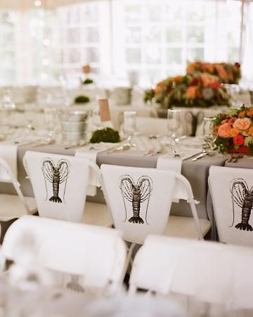 Barbecue bibs on backs of chairs