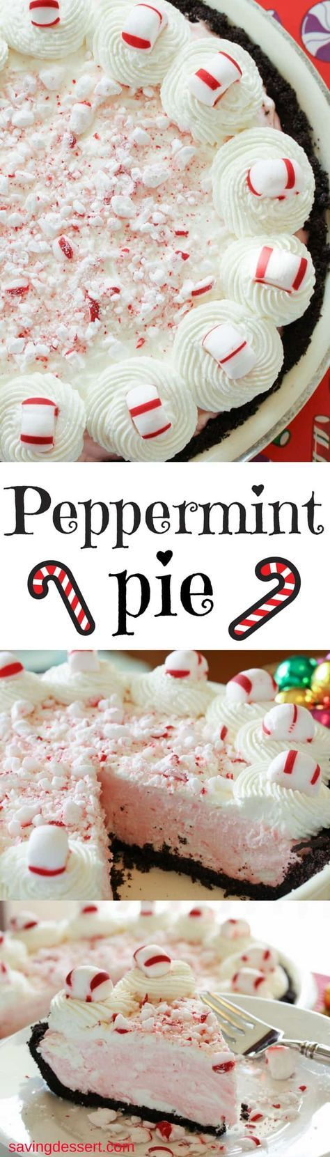 Peppermint Pie ~ Light and fluffy, simple and sweet, with all the flavors of the holiday season!  www.savingdessert.com