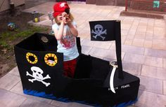 Piratenschiff AHOJ!!! Piratenschiff aus Karton basteln