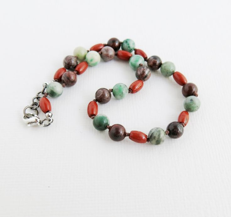 Earthy Sesame Jasper Knotted Anklet - African Jasper Anklet, Red Sesame Jasper, Green Jasper - Lobster Claw Trigger Clasp