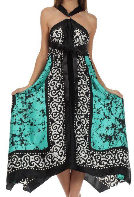 Amazon.com: Sakkas 4022 Silky Wrap Halter Handkerchief Hem Maxi Dress - Beige - One Size: Clothing