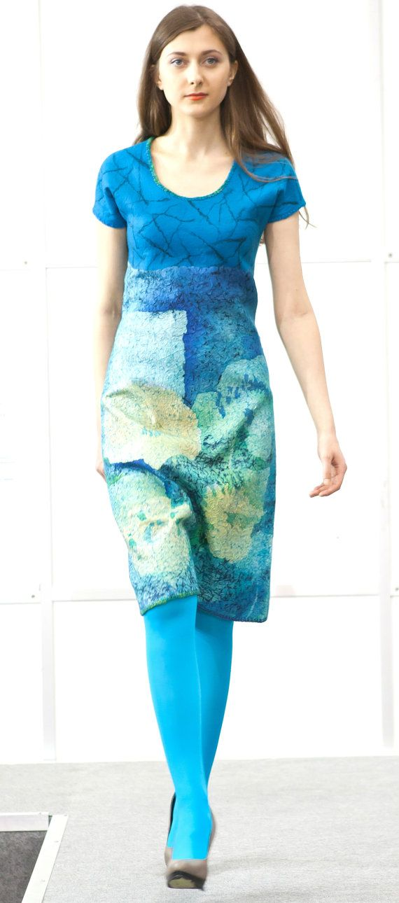 Nuno felted dress WHITE FLOWERS handmade for by annalesnikova, $600.00