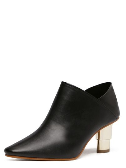 Bottines à talon bout pointu - noir-French SheIn(Sheinside)