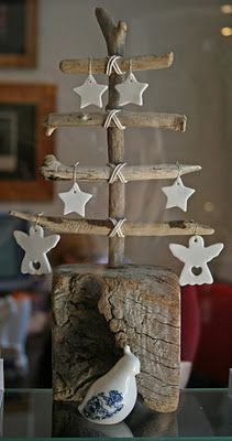 Driftwood Christmas Tree with mini porcelain ornaments-- like the angel and star designs, use polymer clay or flour clay to make these?