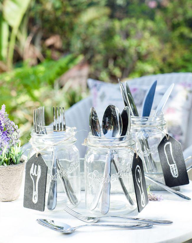 ¡Saquemos los #Cubiertos fuera del cajón! Se ven súper lindos en #Frascos de vidrio, ¿te animas?