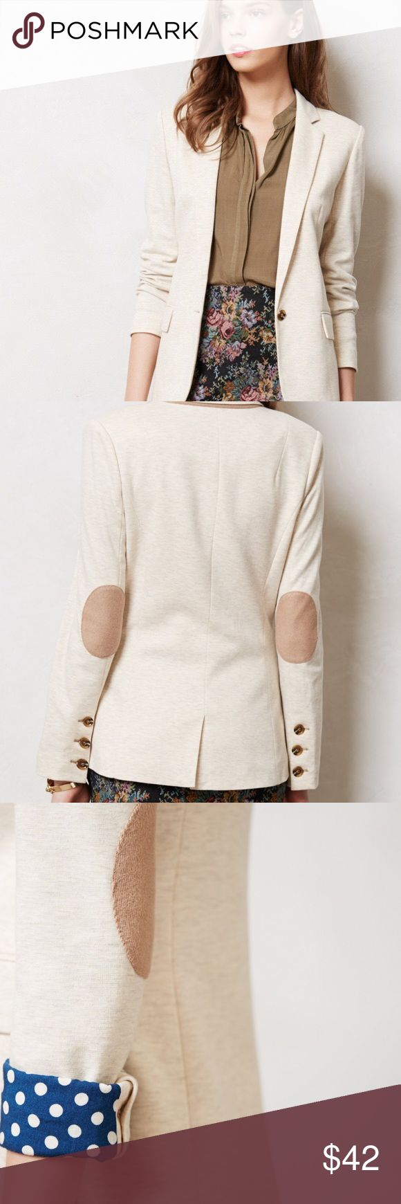 """Anthropologie Cartonnier Dotside Natural Blazer Gorgeous Cartonnier Anthropologie Dotside Blazer in a shade of cream """"natural."""" This jacket is one of a kind and goes well with so many different outfits. You can dress it up or down. Size extra small in good condition. There is some slight color bleed on the collar but it's hard to notice. Amazing elbow patches and polka dot liner too!! Cute summertime professional wear! 25"""" long and 17"""" across the chest. Anthropologie Jackets & Coats Blazers"""
