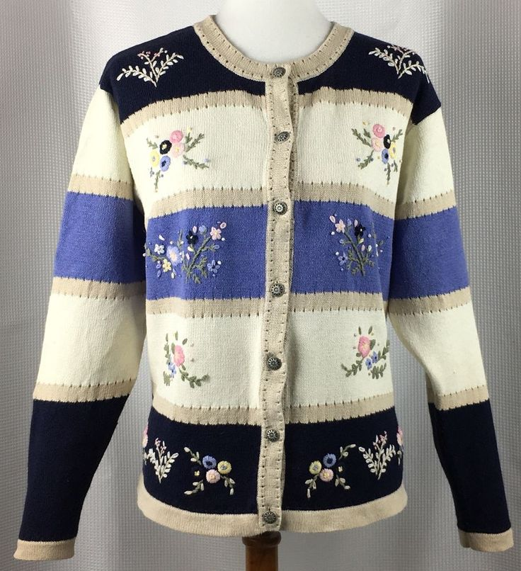 Northern Reflections Womens Cardigan Sweater Spring Flower Embroidery Blue White #NorthernReflections #Cardigan #Work