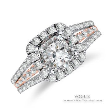 Halo Engagement Ring  R82/0.72CT 14KWP 6.5MM (CENTER STONE NOT INCLUDED)