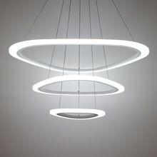 Ничего себе новый современный подвесные светильники для гостиной столовой 4/3/2/1 кольца акриловые кулон лампы led освещение потолка лампы светильники