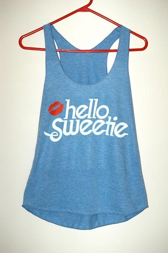 Hello Sweetie - Tri-blend Racerback Ladies Tank Top  - Athletic Blue  - Size Medium on Etsy, $22.65