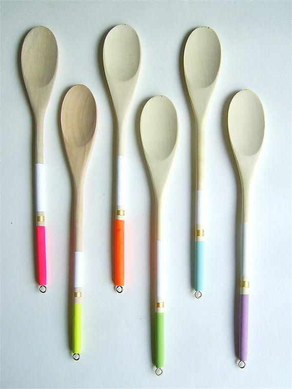 Modern Neon Hardwood Serving Spoons Set of 6 by nicoleporterdesign, $22.00