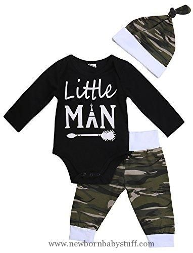 Baby Boy Clothes 3PCS Newborn Baby Boys Cute Letter Print Romper+Camouflage Pants+Hat Outfits Set (0-6 M, Little Man)