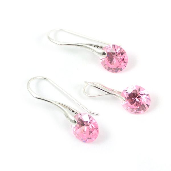 Silver and light rose cubic zirconia. Modest and elegant set.