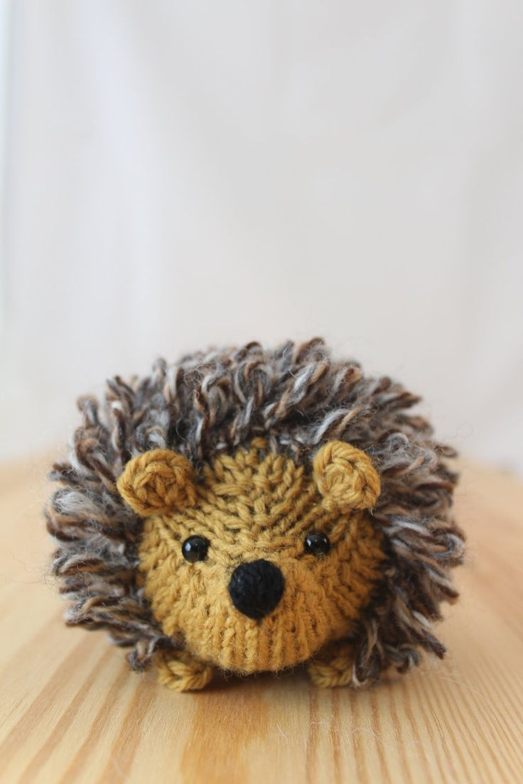 Little knitted hedgehog in honey and tweed, stuffed wool ...