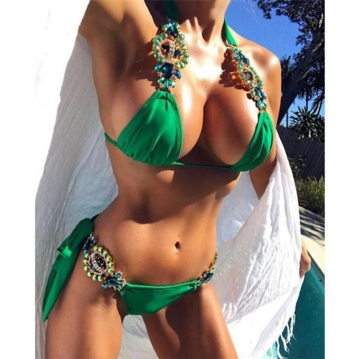 2019 Women Sexy bling lace bikini diamond swimsuit crystal strass tie bandage be…