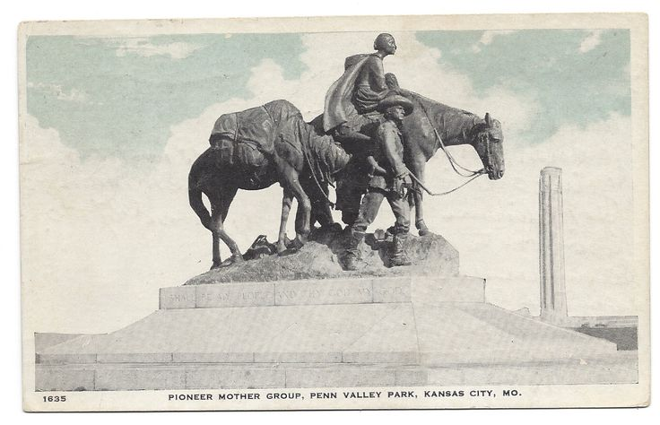 This haunting bronze work by sculptor Alexander Phimister was gifted to Kansas City's Penn Valley Park by local Howard Vanderslice. Penn Valley Park stands where once did a ravine, but with the settlement of man the wild land surrounding had been transformed into neighborhoods, homes, a city. The Pioneer Mother represents the old pioneer Santa Fe Trail route through the land, as well as the countless courageous women that walked or rode the path and brought their descendants to our city. The…