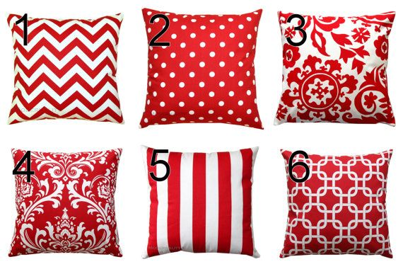 Red Throw Pillows- Premier Prints Lipstick Red Pillow Cover- All Sizes- Zippered Pillow- You Choose- Patriotic Cushion Cover- Home Decor