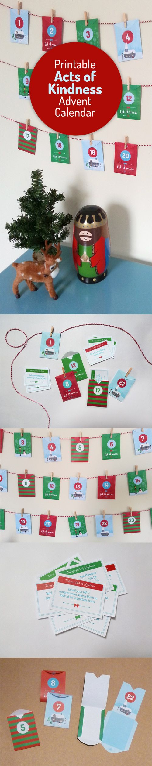 Acts of Kindness DIY Advent Calendar - little printable #Christmas envelopes with 24 daily good deeds cards. Alternative advent!