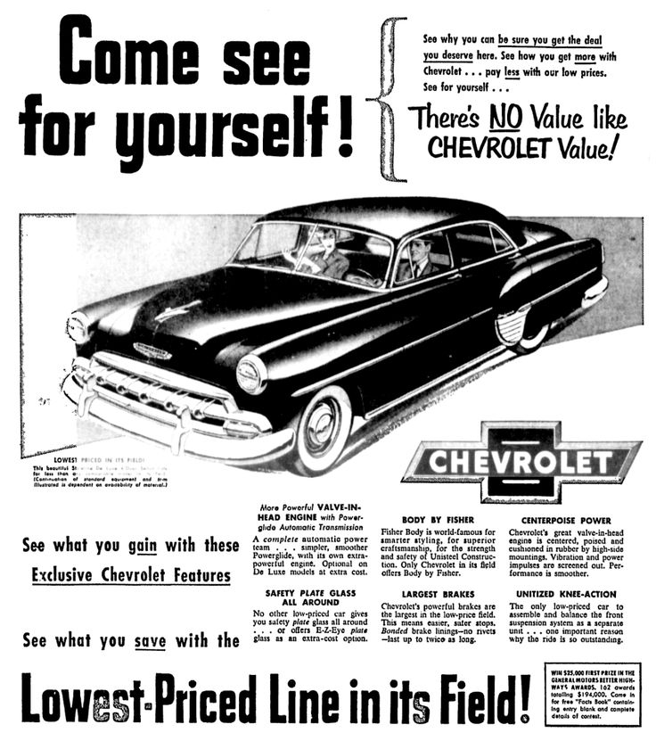 Chevrolet OK Used Cars - October 1954 | 1940\'s & 1950\'s Newspaper ...
