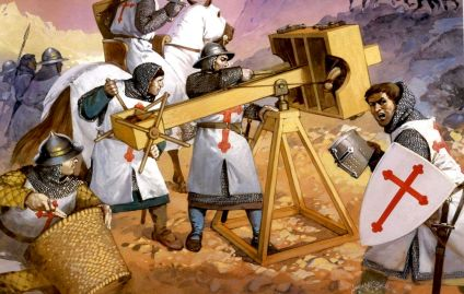 Siege weapons of the Knights Templar. Source unknown.