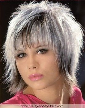 White Hair with Lowlights | black white steaked shag hairstyle