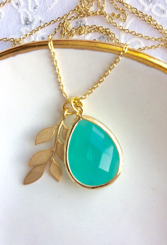 Turquoise Gold Leaf Charm Necklace Gift for Her Under 30 Gift