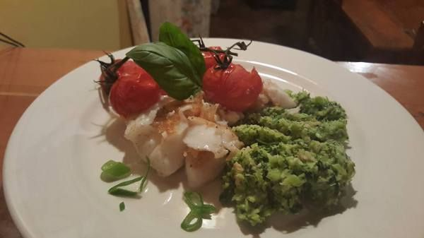 Fish with Broccoli Pesto and Roast Tomatoes