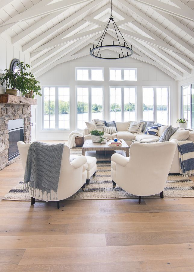 unglaublich  See Haus blau und weiß Wohnzimmer Dekor