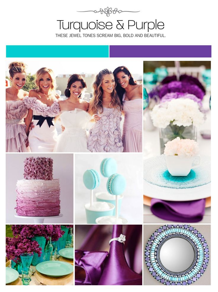 Poročni navdih v turkizni in viola barvi. #poroka #porocna_tema porocna_dekoracija
