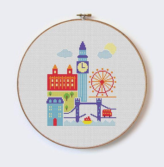 London - modern cross stitch pattern - PDF format - instant download $3.9