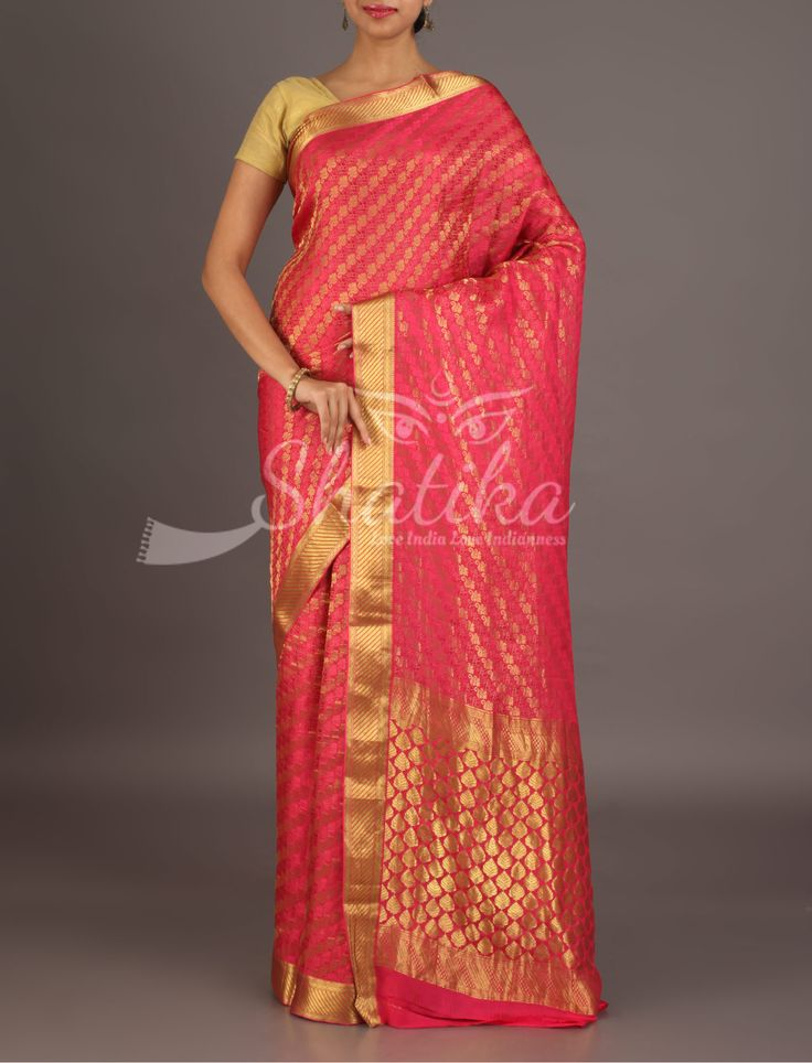 Nisha Solid And Mute Gold Design Stripes Blooming Pink Mysore Georgette Silk Saree